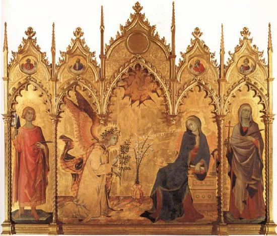 Simone Martini The Annunciation with SS.Ansanus and Margaret and Four Prophets oil painting image